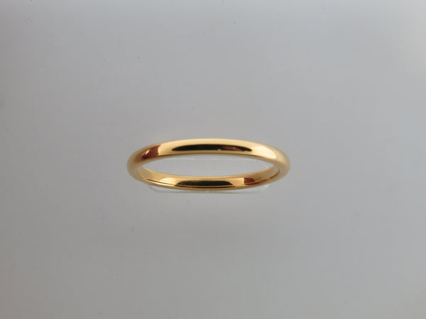 2mm High POLISHED Yellow Gold* Tungsten Carbide Unisex Band