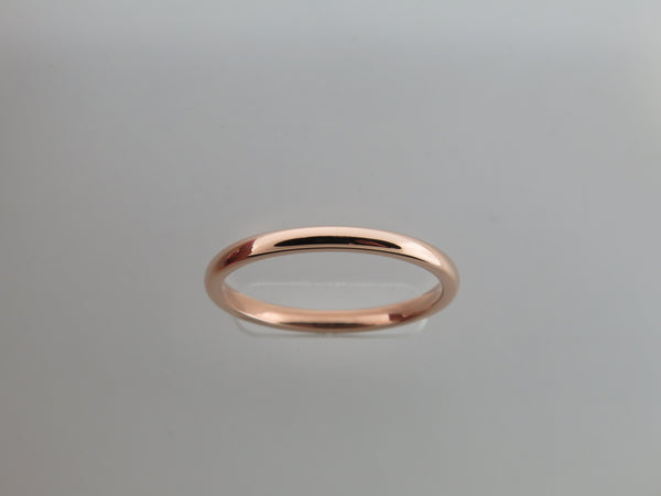 2mm High POLISHED Rose Gold* Tungsten Carbide Unisex Band