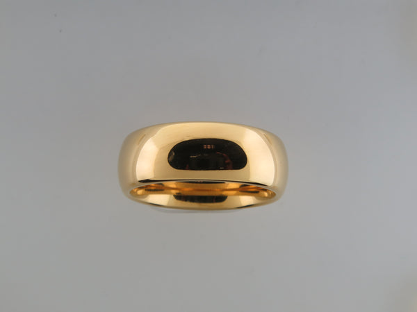 8mm High Polished Yellow Gold* Tungsten Carbide unisex band