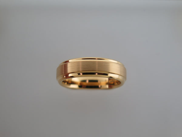 6mm Yellow Gold* Brushed Tungsten Carbide Unisex Band