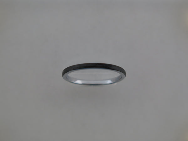 2mm Hammered Black Brushed Tungsten Carbide Unisex Band with Silver* Interior