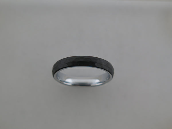 4mm Hammered Black Brushed Tungsten Carbide Unisex Band with Silver* Interior