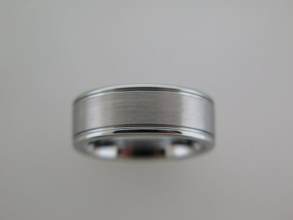 8mm BRUSHED Silver* Tungsten Carbide Unisex Band with High Polished Side Walls