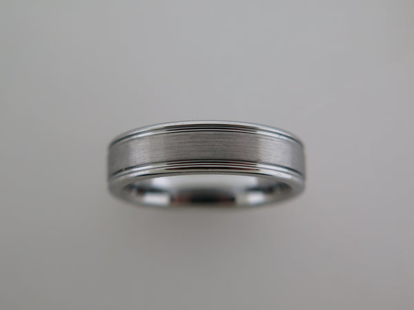 6mm BRUSHED Silver* Tungsten Carbide Unisex Band with High Polished Side Walls