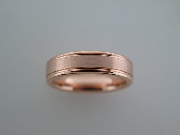 6mm BRUSHED Rose Gold* Tungsten Carbide Unisex Band with High Polished Side Walls