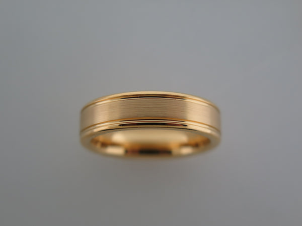 6mm BRUSHED Yellow Gold* Tungsten Carbide Unisex Band with High Polished Side Walls