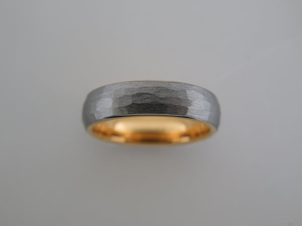 6mm HAMMERED Silver* Tungsten Carbide Unisex Band With Yellow Gold* Interior