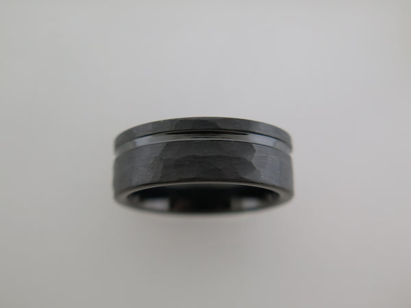 8mm HAMMERED Black Tungsten Carbide Unisex Band With Stripe