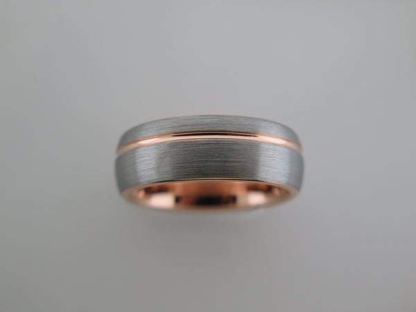 8mm ROUNDED BRUSHED Silver* Tungsten Carbide Unisex Band with Rose Gold* Stripe and Interior