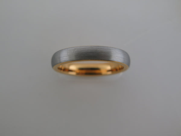 4mm BRUSHED Silver* Tungsten Carbide Unisex Band with Yellow Gold* Interior