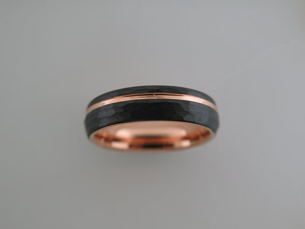 6mm ROUNDED HAMMERED Black* Tungsten Carbide Unisex Band With Rose Gold* Stripe and Interior