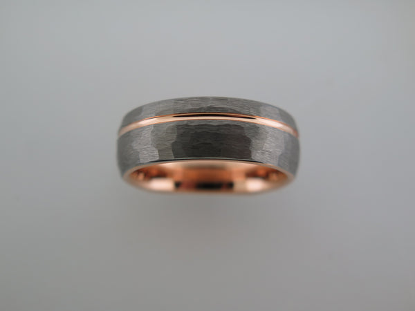 8mm ROUNDED HAMMERED Silver* Tungsten Carbide Unisex Band with Rose Gold* Interior and Stripe