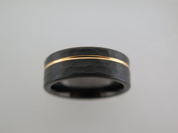 8mm HAMMERED Black Tungsten Carbide Unisex Band with Yellow Gold* Stripe