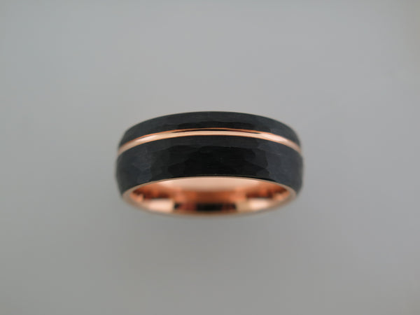 8mm ROUNDED HAMMERED Black Tungsten Carbide Unisex Band With Rose Gold* Stripe & Interior