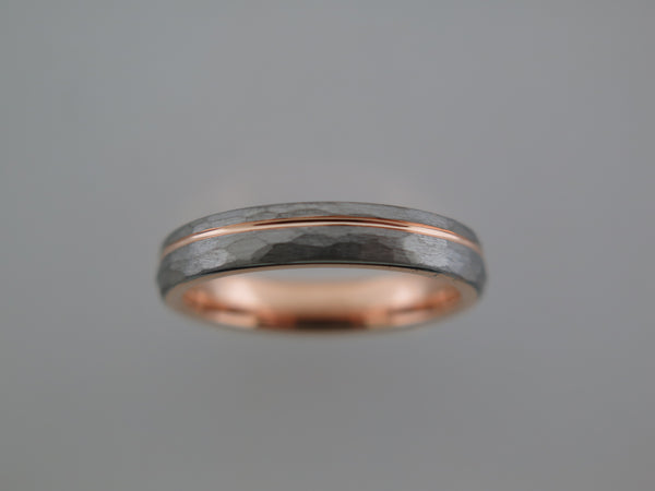 4mm Hammered Silver* Tungsten Carbide Unisex Band with Rose Gold* Stripe & Interior