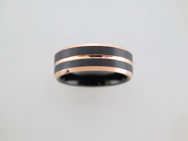 8mm BRUSHED Black* and Rose Gold* Tungsten Carbide Unisex Band with Black Interior