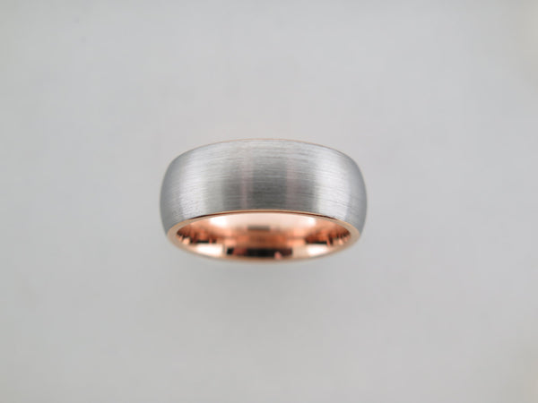 8mm BRUSHED Silver* Tungsten Carbide Unisex Band With Rose Gold* Interior