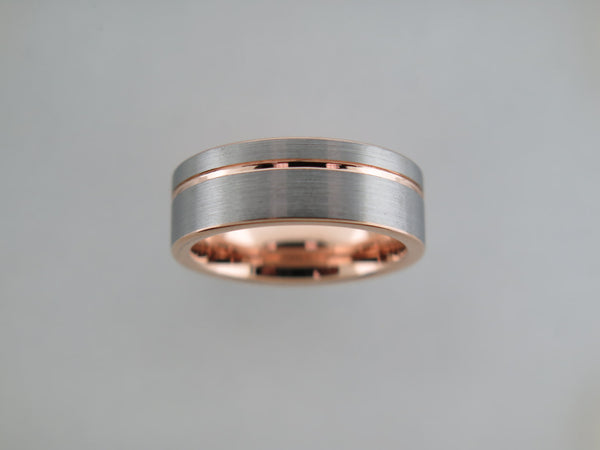 8mm BRUSHED Tungsten Carbide Unisex Band with Rose Gold* Stripe and Interior