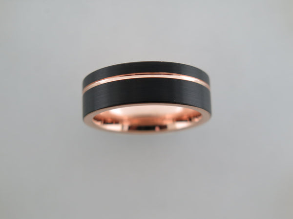 8mm BRUSHED Black* Tungsten Carbide Unisex Band with Rose Gold* Stripe and Interior
