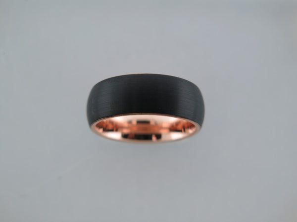 8mm Brushed Black Tungsten Carbide Unisex Band With Rose Gold* Interior