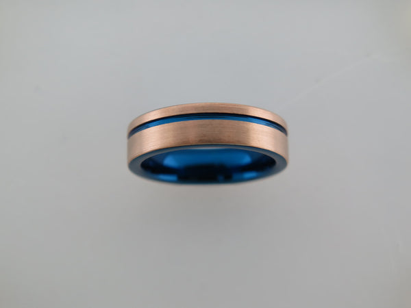 6mm BRUSHED Rose Gold* Tungsten Carbide Unisex Band With Blue Stripe & Interior