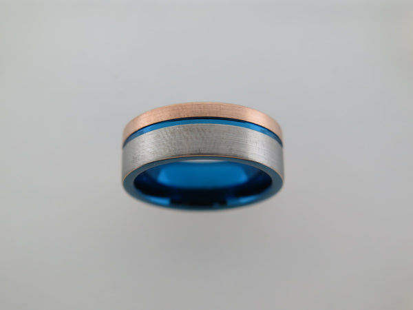 8mm Two-Tone Rose Gold* Brushed Tungsten Carbide Unisex Band With Blue inlay and Stripe