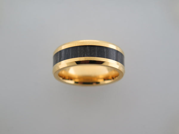 8mm POLISHED Yellow Gold* Tungsten Carbide Unisex Band with Black Wood Inlay