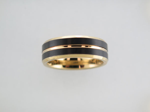 8mm BRUSHED Black* and Yellow Gold* Tungsten Carbide Unisex Band with Yellow Gold* Interior