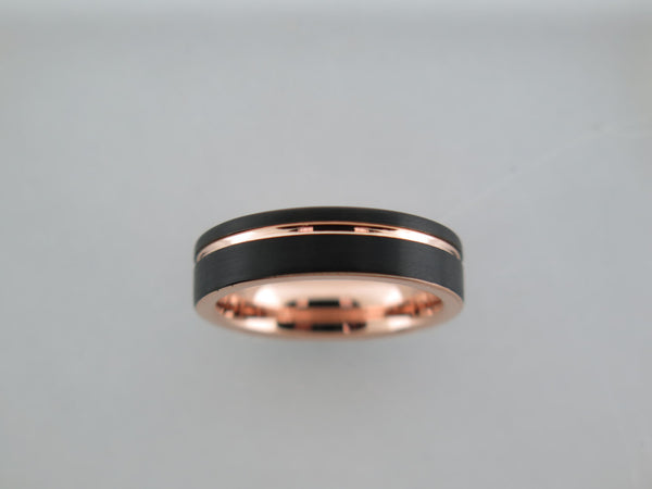 6mm Black Brushed Tungsten Carbide Unisex Band With Rose Gold* Interior and Stripe