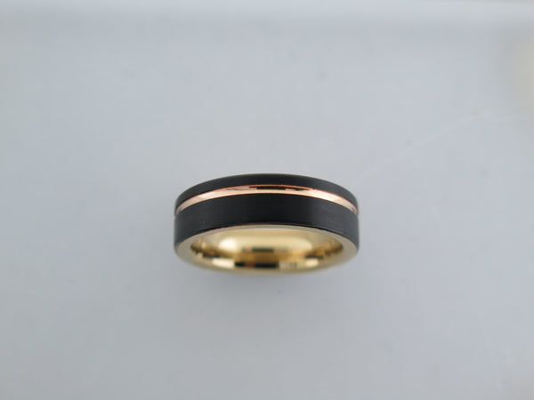 6mm Black Brushed Tungsten Carbide Unisex Band With Yellow Gold* Stripe & Interior