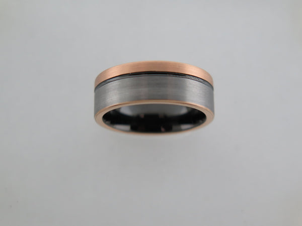 8mm Two-Tone BRUSHED Rose Gold* Tungsten Carbide Unisex Band With Black Inlay and Stripe