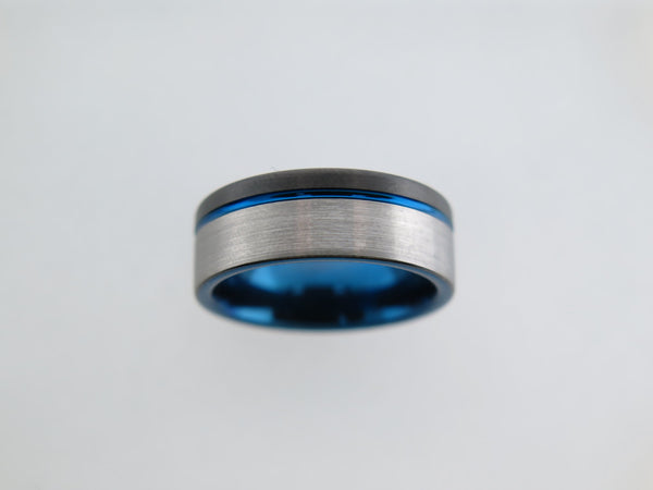 8mm Two-Tone BRUSHED Tungsten Carbide Unisex Band with Blue Stripe & Interior