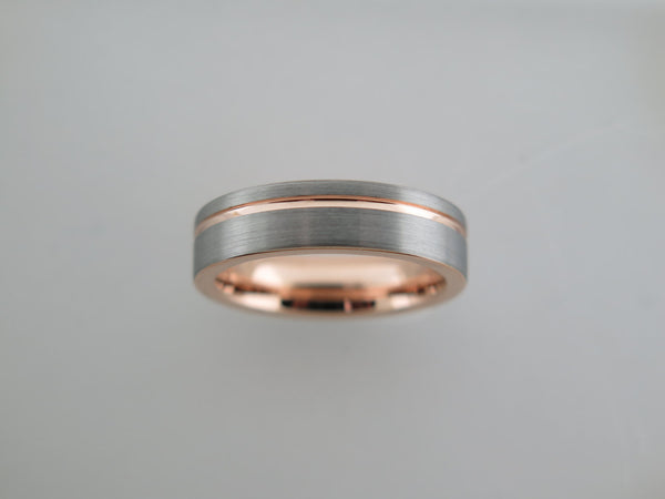 6mm BRUSHED Silver* Tungsten Carbide Unisex Band with Rose Gold* Stripe & Interior