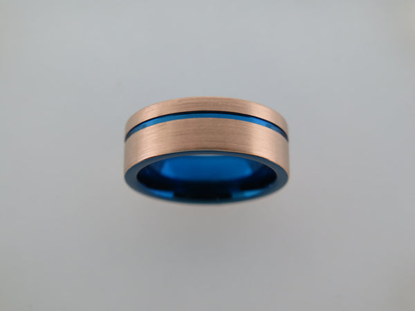 8mm BRUSHED Rose Gold* Tungsten Carbide Unisex Band With Blue Stripe & Interior