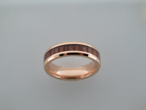 6mm Rose Gold* Tungsten Carbide Unisex Band with Koa Wood inlay