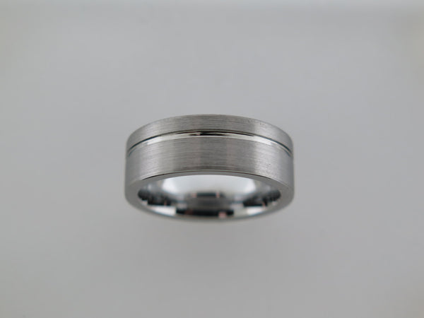 8mm Brushed Tungsten Carbide Unisex Band With Stripe