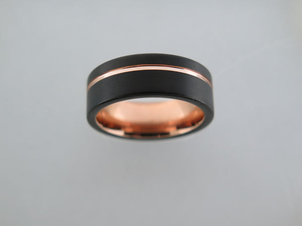 8mm Black Brushed Tungsten Carbide Unisex Band With Black Side Walls & Rose Gold* Stripe
