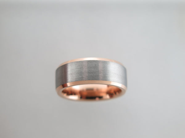 8mm BRUSHED Silver* Tungsten Carbide Unisex Band with Rose Gold* Sides & Interior