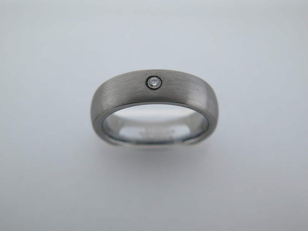 6mm BRUSHED Silver* Tungsten Carbide Unisex Band with CZ Stone