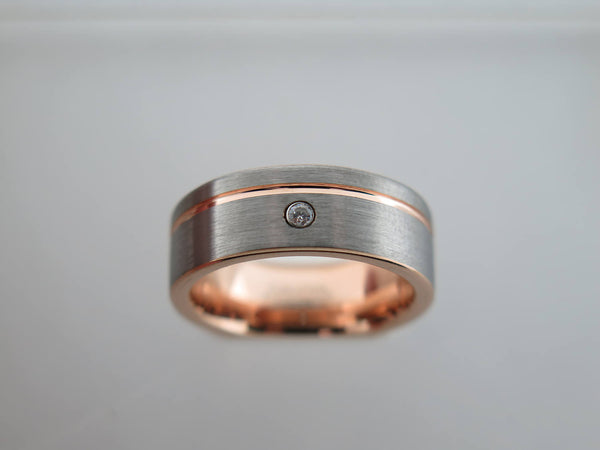 8mm Brushed Tungsten Carbide unisex band with Rose Gold* Stripe & CZ Diamond