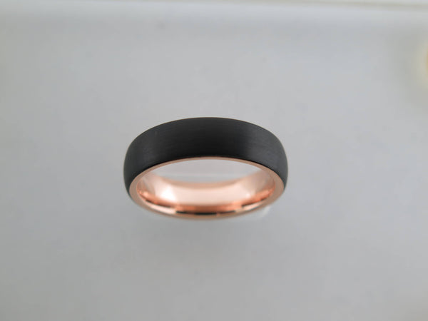 6mm BRUSHED Black Tungsten Carbide Unisex Band With Rose Gold* Interior
