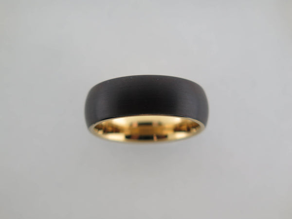8mm Brushed Black Tungsten Carbide Unisex Band With Yellow Gold* Interior