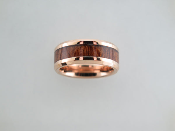 8mm POLISHED Rose Gold* Tungsten Carbide Unisex Band with KOA Wood Inlay