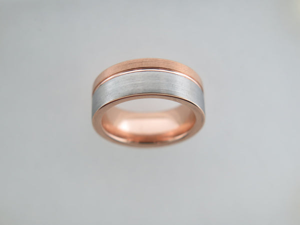 8mm Two-Tone BRUSHED Silver* & Rose Gold* Tungsten Carbide Unisex Band with Rose Gold* Stripe & Interior