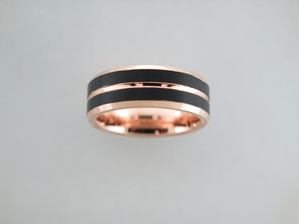 8mm BRUSHED Black and Rose Gold* Tungsten Carbide Unisex Band with Rose Gold* Interior