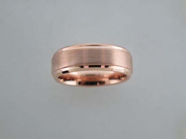 8mm BEVELED EDGE Rose Gold* Brushed Tungsten Carbide Unisex Band