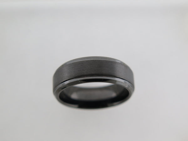 8mm Black BEVELED EDGE Brushed Tungsten Carbide Unisex Band with Black* Interior