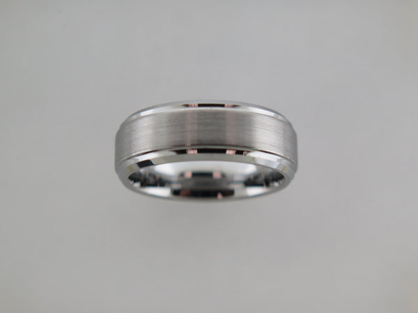 8mm Brushed Beveled Edge Tungsten Carbide Unisex Band