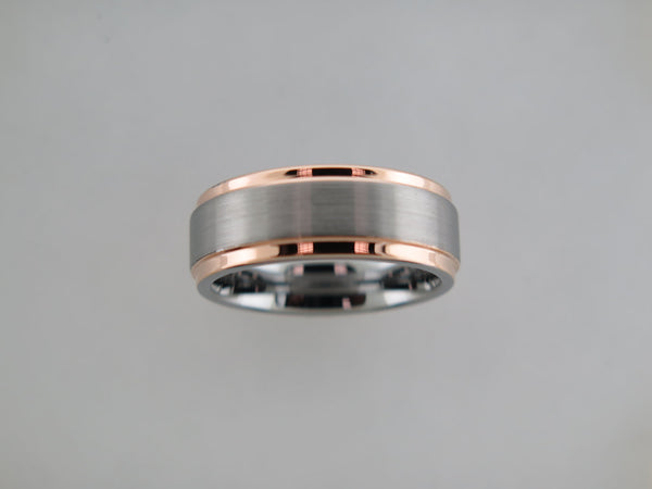 8mm BRUSHED Silver* Tungsten Carbide Unisex Band with Rose Gold* Sides