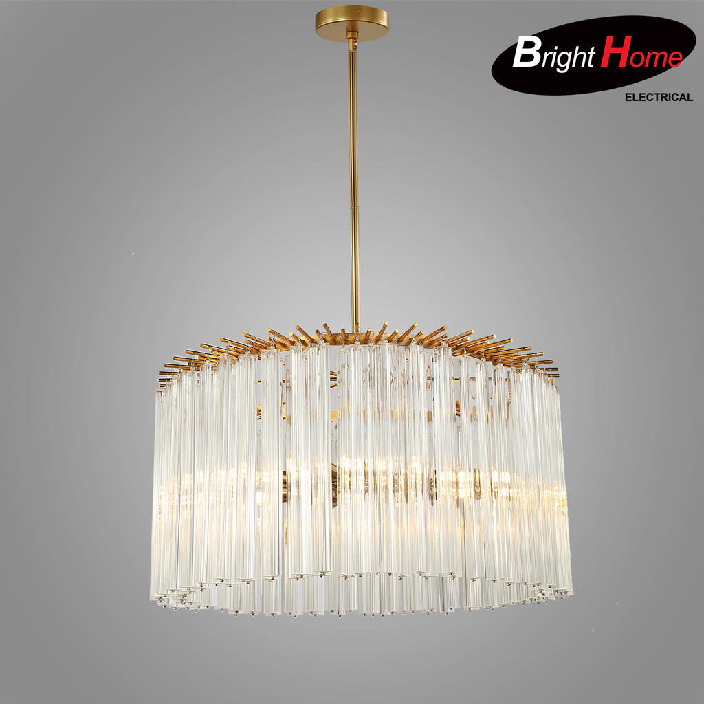 Pre-Order  Glass Pendant lighting Iron Chandelier with Brass Finish Glass BHP6659PA